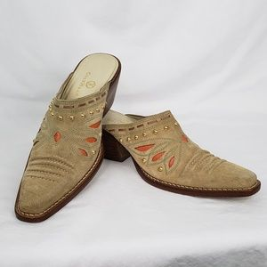 Cole Haan Western Style Suede Mules - Size 6B